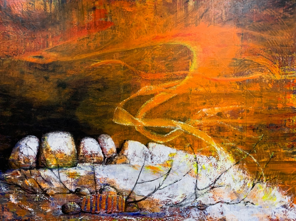 There is considerable diversity in the aboriginal myths dealing with the origin of fire... it originated in a lightning flash... it came from a burning mountain... it was accidentally discovered by man... This painting is about the playful fire sticks and the blazing log of the Southern Cross.